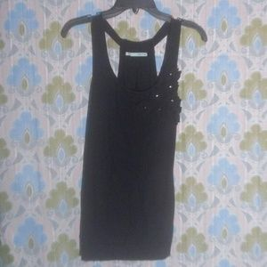 Maurices Black Racerback Tank with Flower Design